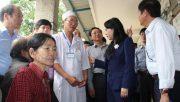Bộ trưởng Bộ Y tế Nguyễn Thị Kim Tiến kiểm tra tình hình khắc phục hậu quả lũ lụt tại Bình Định